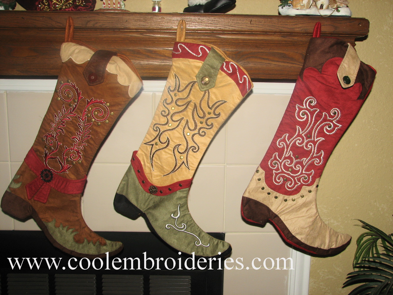 Western Christmas Stocking Patterns http://coolembroideries.com/cowboy-cowgirl-embroidered-christmas-stockings.html
