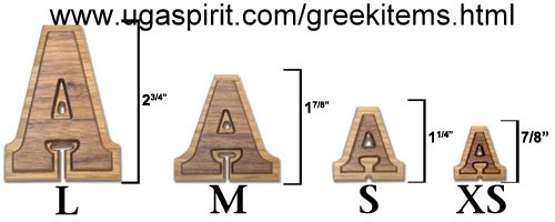 greek wood letters extra small double raised