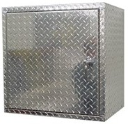 4 Ft Diamond Plate Aluminum Garage Cabinet from Garage Pals