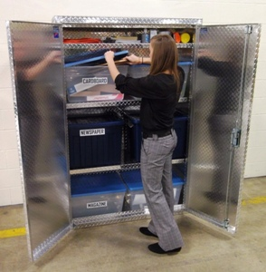 Diamond Plate Aluminum Recycling Center Storage Cabinet from Garage Pals