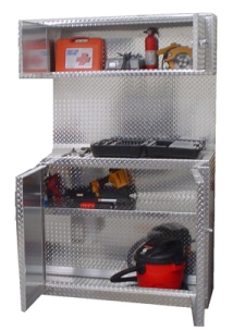 4 Ft Diamond Plate Aluminum Cabinet Combo from Garage Pals