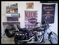 Harley Themed Garage with Garage Pals