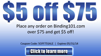 $5 Off $75 on all products on Binding101.com