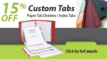 15% Off Custom Paper Tab Dividers from Binding101.com