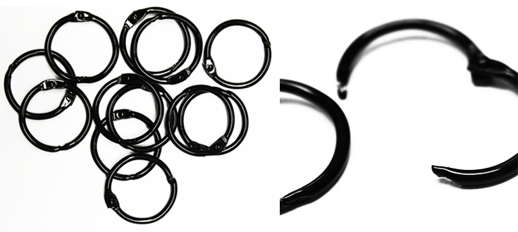 Black Metal Binding Rings