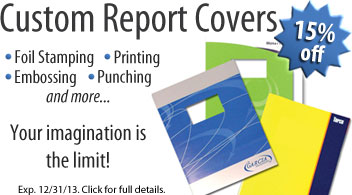 15% Off Custom Report Covers - Custom Presentation Cover Sale