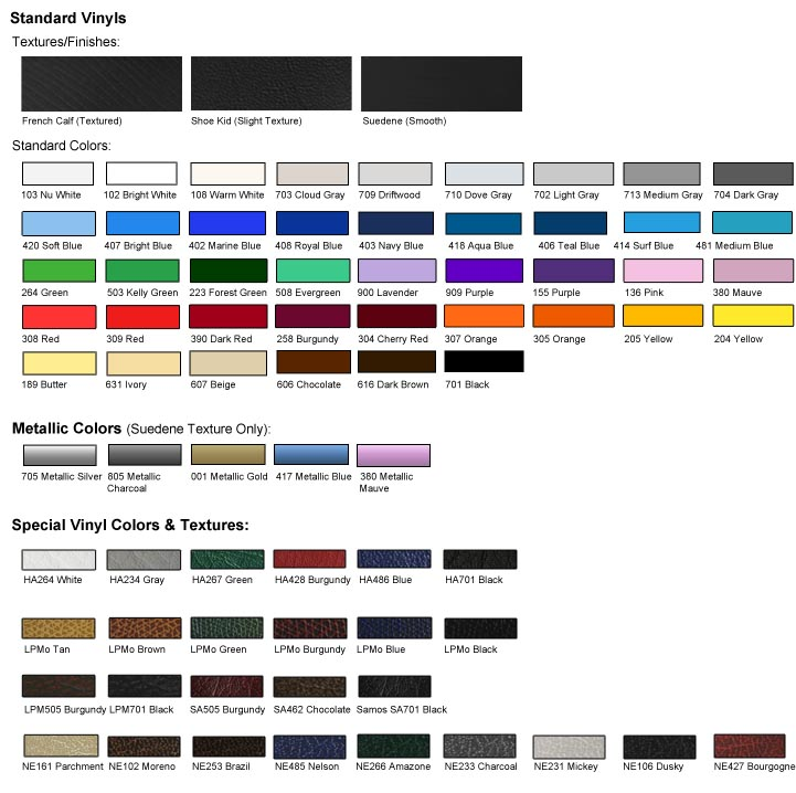 Vinyl Binder Color Swatch