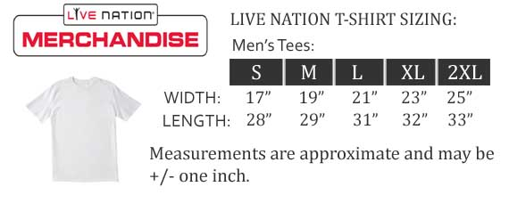 Live Nation Band T-Shirt Size Chart