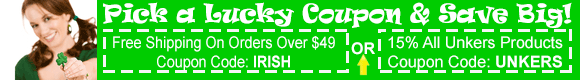Free Shipping on orders over $49 coupon code irish + 5% off unkers with coupon code unkers