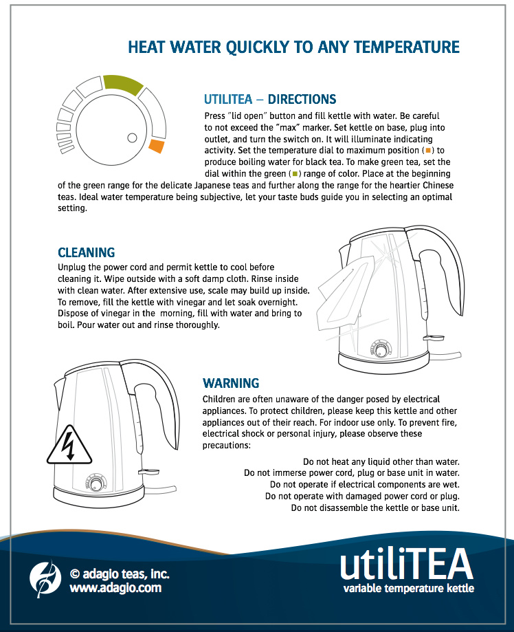 First page utiliTea instructions from Adagio