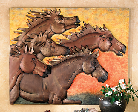 Mountain Run Horse Wall Plaque