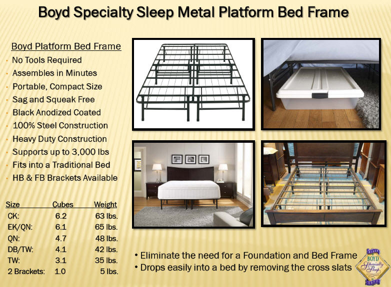 this metal bed frame support works great with any of our latex foam beds or eco friendly memory foam mattresses easy to assemble and costs much less than