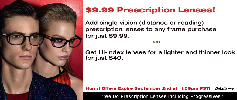$9.99 Single Vision Lenses