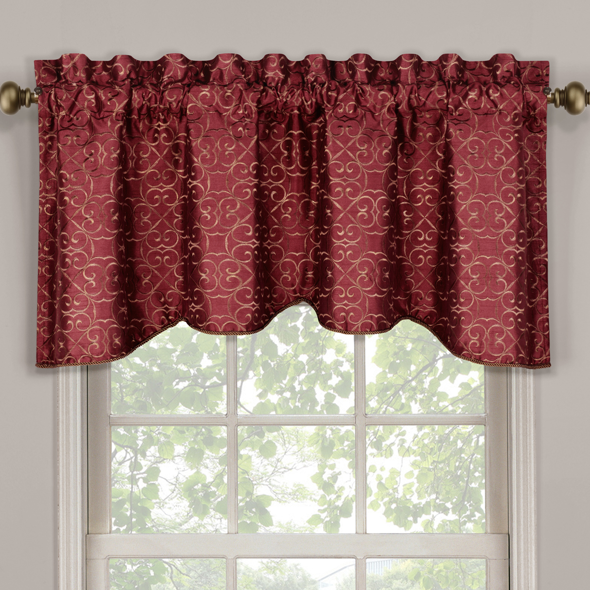 Montego Stripe Lined Scalloped Valance: Halifax Scalloped Decorative Rope Embroidered Lined Valance