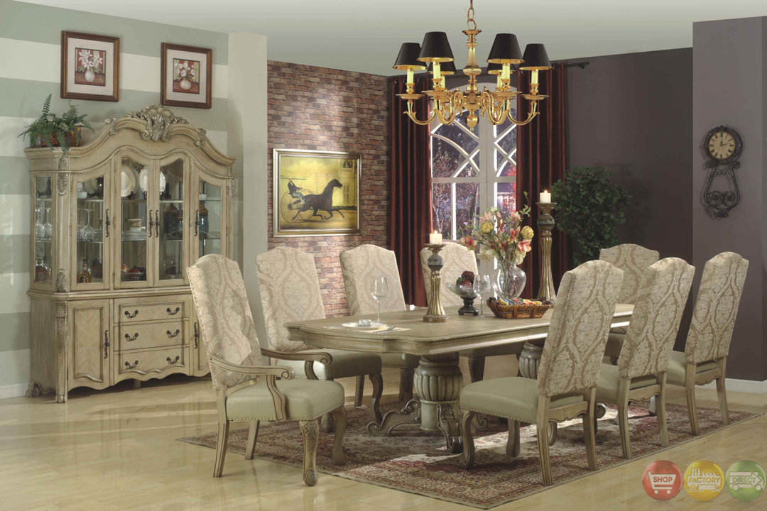 Traditional antique whitewash 10 piece formal dining set for Small white dining room sets