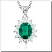 Emerald and diamond necklace at My Love Wedding Ring